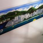 Large panoramic painting of Palma Majorca for private home.